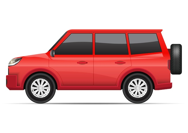 Vista lateral del coche suv rojo realista aislado en blanco.
