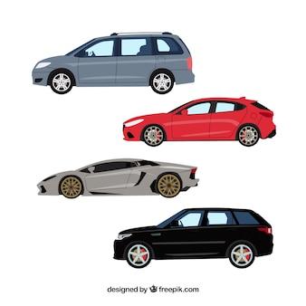 Vista lateral de coches modernos