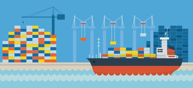 Vista lateral de envío de carga de puerto de barco