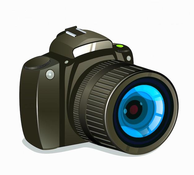 Vista lateral del icono de la cámara de fotos sobre fondo blanco