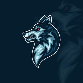 Vista lateral de la ilustración de la mascota de esport de cabeza de lobo