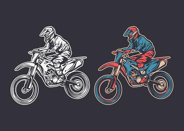Vista lateral de motocross de ilustración vintage