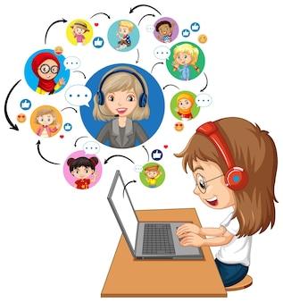 Vista lateral de una niña usando una computadora portátil para comunicarse por videoconferencia con el maestro y amigos sobre fondo blanco.