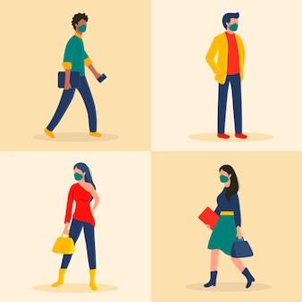 Vista lateral de personas que regresan al trabajo con máscaras faciales