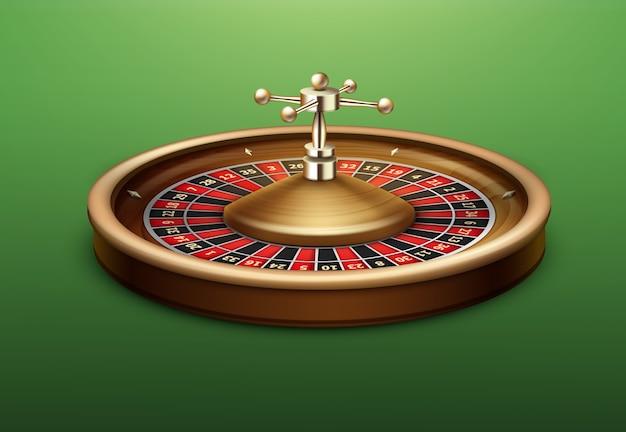 Vista lateral de la rueda de la ruleta del casino realista vector aislado en la mesa de póquer verde