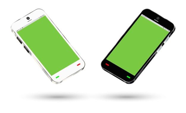 Vista lateral de un teléfono inteligente con una pantalla verde
