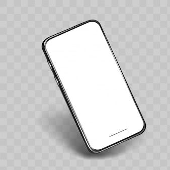 Vista lateral del teléfono móvil aislada