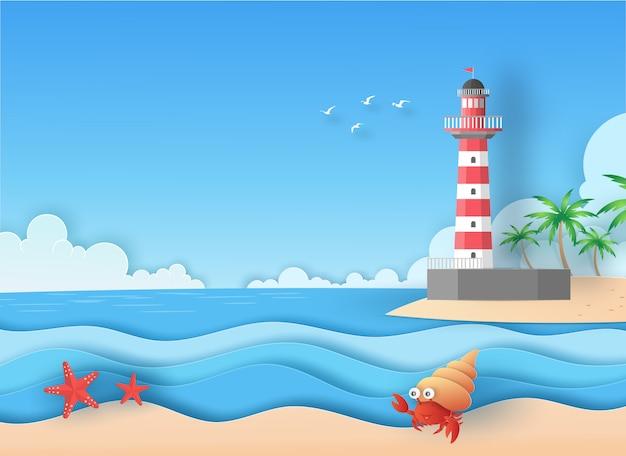 Vista de mar y playa con estrellas de mar, faro y cangrejo ermitaño en verano. concepto de arte de papel de vector.
