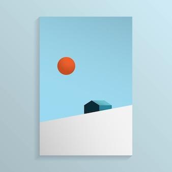 Vista mínima de la casa en la colina de la montaña de nieve con el sol en el cielo