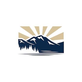 Vista a la montaña con logo de ilustración de bosque y lago