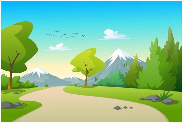 Vista de montañas y árboles por la mañana.