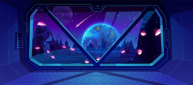 Vista de la nave espacial en la tierra en la noche del planeta alienígena