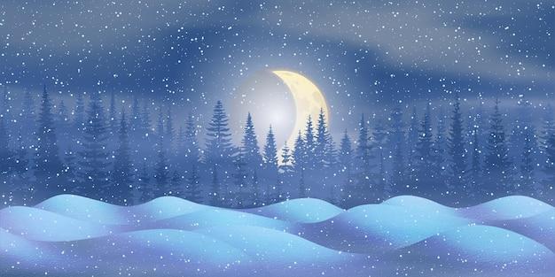 Vista nocturna de año nuevo, derivas y la luna poniéndose detrás del bosque