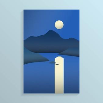 Vista nocturna de la costa del mar con isla con montaña y luna llena en el cielo con reflejo en el mar