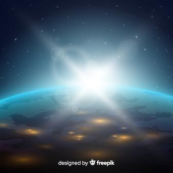 Vista nocturna del planeta tierra con diseño realista