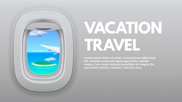 Vista de ojo de buey de avión. ala de avión de viaje en ventana, avión de viajero y ilustración de concepto de viaje de vacaciones