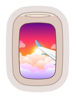 Vista de ojo de buey en vuelo ilustración