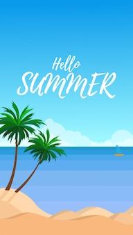 Vista del paisaje del mar con cocoteros de verano durante el día con playa de arena blanca, mar azul y cielo azul claro.