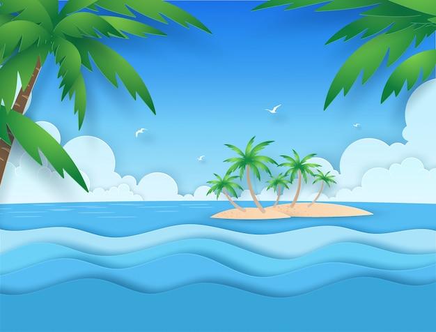 Vista del paisaje marino con nubes, islas y cocoteros en corte de papel summerwith