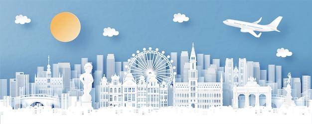 Vista panorámica de bruselas, bélgica y el horizonte de la ciudad con monumentos de fama mundial