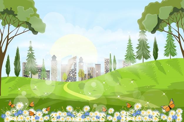 Vista panorámica del campo de primavera con la luz del sol brillando en el bosque de follaje