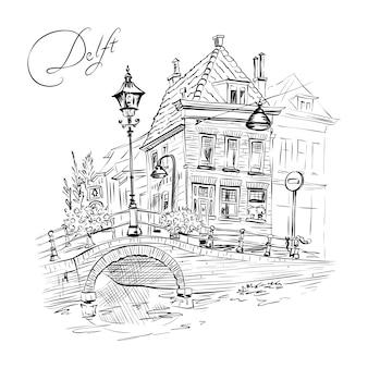 Vista panorámica de la ciudad de delft con hermosas casas medievales, holanda, países bajos.