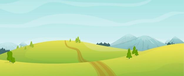 Vista panorámica de dibujos animados de la naturaleza del día de verano en los campos de las montañas y colinas
