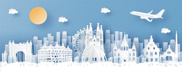 Vista panorámica de españa y el horizonte de la ciudad con monumentos de fama mundial