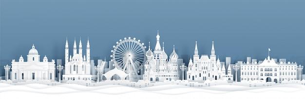 Vista panorámica del horizonte de moscú, rusia con monumentos famosos del mundo en estilo de corte de papel