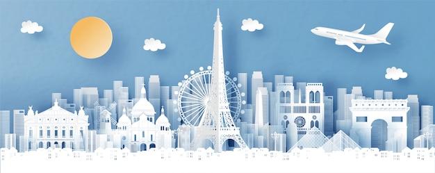 Vista panorámica de parís, francia y el horizonte de la ciudad con monumentos de fama mundial