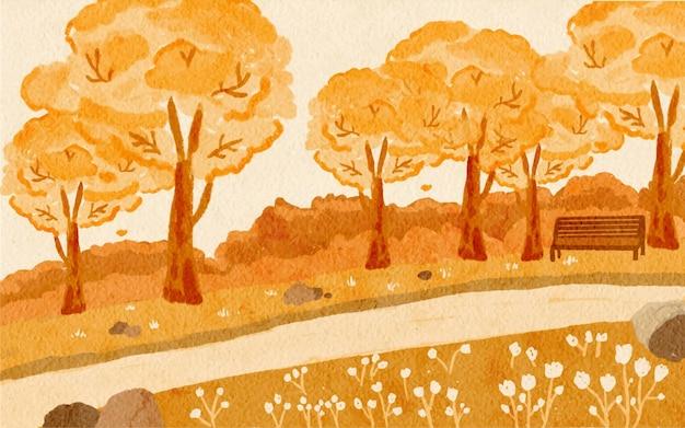 Vista panorámica del pueblo en otoño con fondo de paisajes pintados a mano en acuarela
