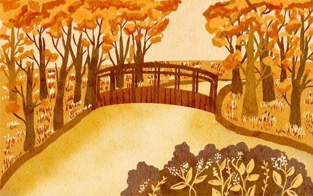 Vista panorámica con puente de madera de la aldea en otoño fondo de paisajes de acuarela pintados a mano