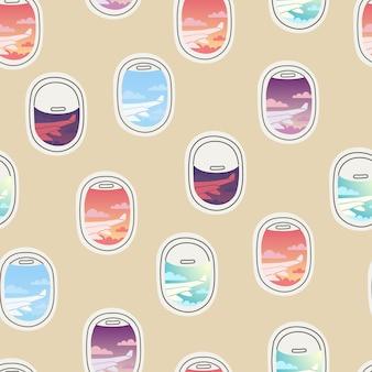 Vista de patrones sin fisuras desde la portilla varias ventanas de avión repetidas con cortinas