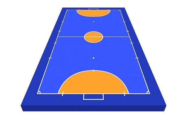 Vista en perspectiva campo de fútbol sala. contorno naranja de la ilustración de campo de fútbol sala de líneas.