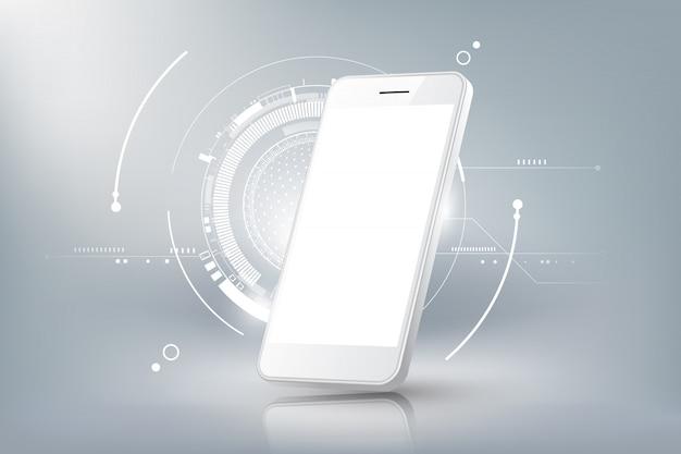 Vista de perspectiva de maqueta de teléfono inteligente realista con plantillas aisladas de pantalla en blanco y concepto de tecnología futurista, fondo abstracto de teléfono móvil, ilustración
