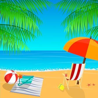 Vista a la playa con sombrilla, hojas de palmera y pantuflas