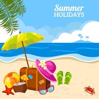 Vista de playa de verano en el cartel de playa