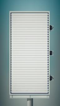 Vista posterior de la cartelera vertical en blanco