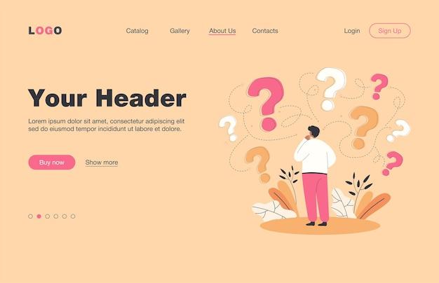 Vista posterior del hombre que toma la página de destino plana de decisión empresarial ... personaje de dibujos animados pensando en opciones y signos de interrogación a su alrededor. éxito y búsqueda de concepto de estrategia de solución