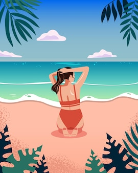 Vista posterior de la mujer en la playa diseño plano de verano