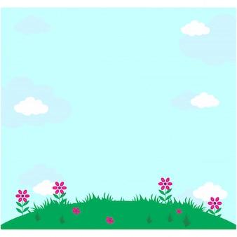 Una vista de un prado o hierba bajo un cielo azul