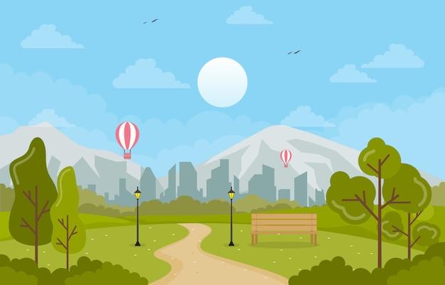 Vista de primavera de verano en el parque de la ciudad ilustración plana del paisaje al aire libre