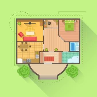 Vista del proyecto de diseño interior del piso de la casa desde arriba