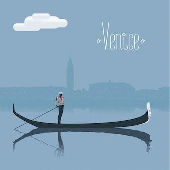 Vista del rascacielos de venecia con ilustración de gondolero