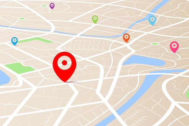 Vista superior 3d de un mapa con punto de ubicación de destino