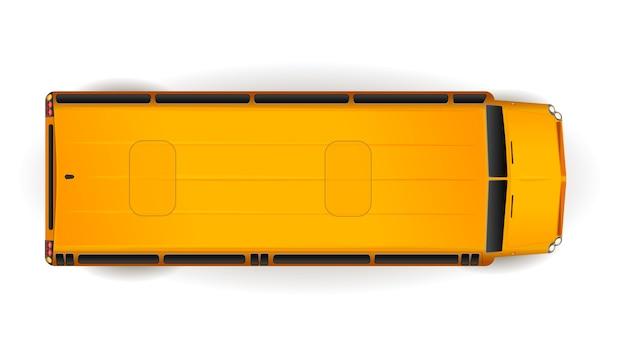 Vista superior del autobús escolar realista amarillo brillante en blanco