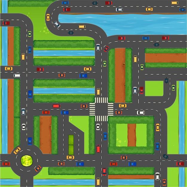 Vista superior de autos en la calle