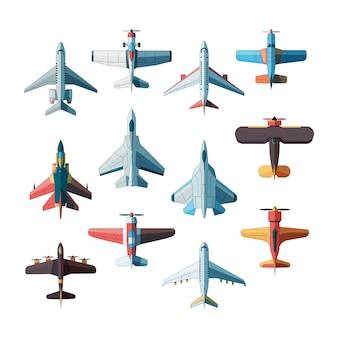 Vista superior de aviones. cuadros planos de aviones militares a reacción aislados