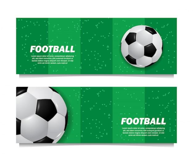 Vista superior del balón de fútbol de pelota 3d en la plantilla de banner de campo de hierba verde