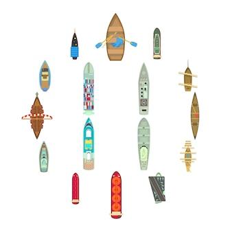 Vista superior del barco arriba sobre conjunto de iconos, estilo de dibujos animados